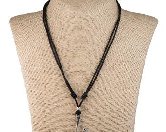 Metal Fish Hook Pendant on Adjustable Black Cord Necklace