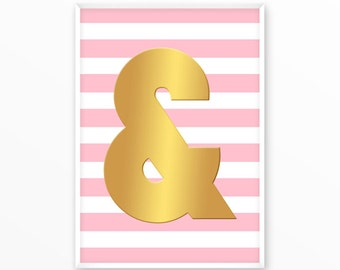 Ampersand print, sign, gold, type character, Poster, printable, art, Typography, Quote, Inspiration Home Decor, Screenprint, wall art, gift