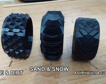 1:10 Scale Airless-style R/C Car Wheels With Customizeable Tread (Set of 4) [3D Printed]