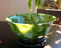 19th Century Chinese Spinach GREEN JADE Bowl 10 inch
