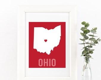 Ohio Home Print – Custom Ohio Print, Ohio Wall Art