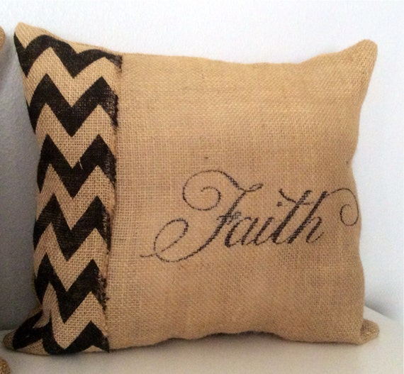 Burlap Home Decor: Burlap Faith Pillow Home Decor Pillow