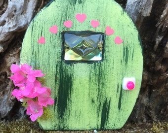 Miniature Fairy Door, Miniature Gnome Door, Green Fairy Door, Green Gnome Door, Fairy Garden Door, Miniature Green Door, Handmade Door