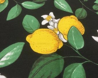 Tablecloth Lemon. green leaves, white flowers, Scandinavian desing
