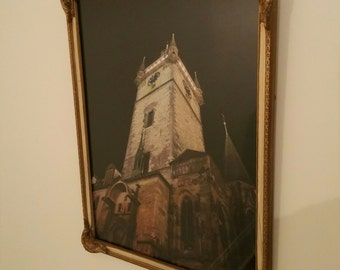 Framed Photograph of the Prague Town Square Clock Tower in an Antique Frame