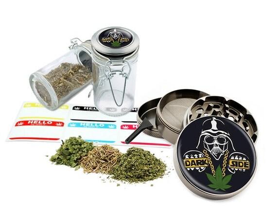 "Dark Side - 2.5"" Zinc Alloy Grinder & 75ml Locking Top Glass Jar Combo Gift Set Item # G50120915-20"