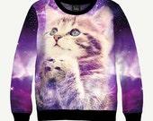 Kitten In Space, Cat In Galaxy, Purple - Men's Women's Sweatshirt | Sweater - XS, S, M, L, XL, 2XL, 3XL, 4XL, 5XL