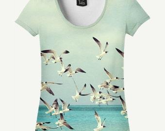 Bird T-shirt, Bird Shirt, Seagull T-shirt, Seagull Shirt, Women's T-shirt, Women's Shirt