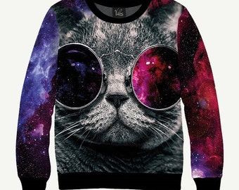 Cool Cat Sweatshirt, Cool Cat Sweater, Cat In Space Sweatshirt, Cat In Space Sweater, Men's Women's Sweatshirt Sweater