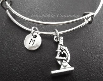 Doctor's 3d microscope silver tone Expandable Bangle, monogram personalized custom, item No.693