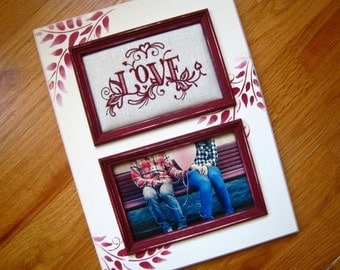 Love 5x7 picture frame Personalized gift Engagement gift Personalized picture frame Gift for couple in love Girlfriend or Boyfriend gift