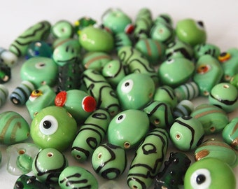 32 Glass Lampwork Bead Mix Lot Assorted Shapes and Sizes Shades of Green