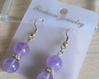Amethyst stone puple earring