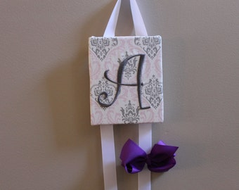Hair Bow Holder Pink Grey Damask Monogrammed Embroidered Personalized Hair Bow Holder Hair Clip Holder Hairbow Holder Hair Bow Organizer