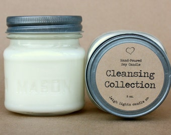 8 oz Mason Jar | Soy Candle | Cleansing Collection | CHOOSE YOUR SCENT