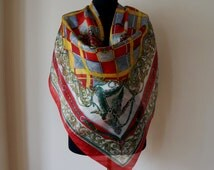 Peter Hahn pure silk square scarf, rough stiff rustic silk, green, red and yellow plaid and duck hunting print, vintage fashion accessories