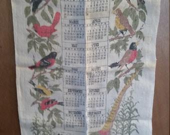 1965 towel calendar/towel calendar/calendar with bird's