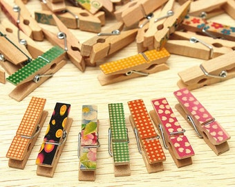Wood Wooden Paper Craft Peg Mini Photo Clothespin Clips Pegs