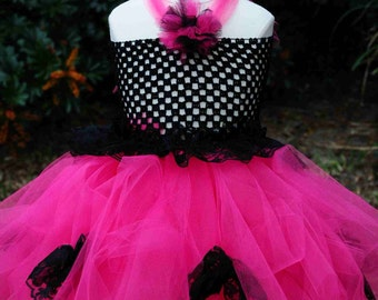 Beau-TUTU-ful tutu dress with lace and handmade tulle flowers