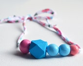 """Wood Bead Necklace, Adjustable Fabric Toddler Necklace - """"ISLA"""" - Unbreakable Children's Necklace, Children's Jewelry, Girl Toddler"""