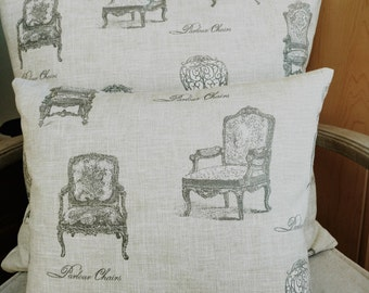 French Country pillow Cover, Louis XV chairs printed on sandbeige cotton,French accent pillow ,French country pillow,french country cushion