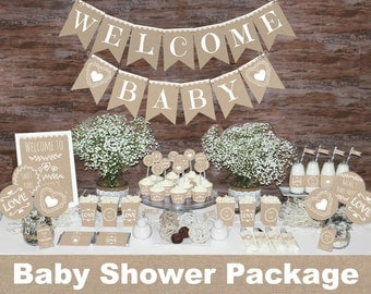 Rustic baby shower decorations printable, Gender neutral baby shower decorations, Neutral baby shower decors, Burlap baby shower decorations