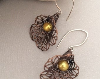 Calla Lily Earrings, Antiqued Copper Calla Lily Earrings, Sterling Silver, Dark Yellow Pearl