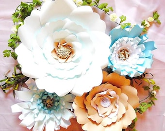 Giant Paper flower backdrop templates - DIY Paper Flowers- DIY Paper Flower templates - SVG cutting files- Paper craft