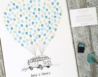 Wedding Kombi - A2 Size Love Van! Fingerprint guest book, incl 2 ink pads. Suits 80-120 guests + Free delivery Australia only.