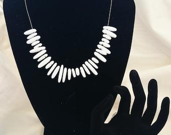 White Porcelain Necklace and Bracelet