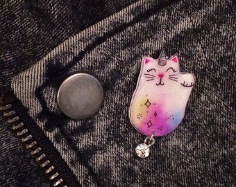 Unicorn Cat Magical Glitter Maneki Neko Inspired Pin | Kitten Cat Pin, Lapel Pin, Tie Tac, Stick Pin, Cute Animal Accessory