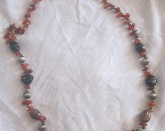 vintage agate necklace and blown glass beads