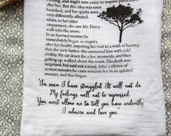 Pride and Prejudice - Mr. Darcy Proposal  Tea Towel - FLAWED