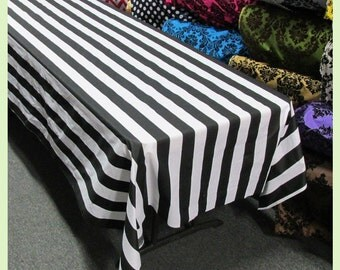 Stripe 2 Inch Cotton Rectangle Tablecloth Black / White [58X108] [58X120] [