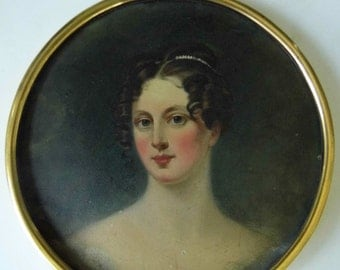 Antique 19 century oil on board painting miniature portrait of lady