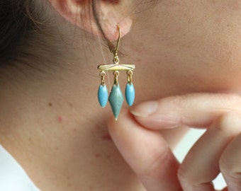 Dangling enamelled earrings to pendants, blue and gray, Bohemian chic, Made in Paris, mother's day gift