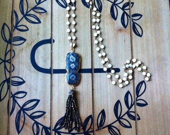 Stalactite Tassel Rosary Chain Necklace