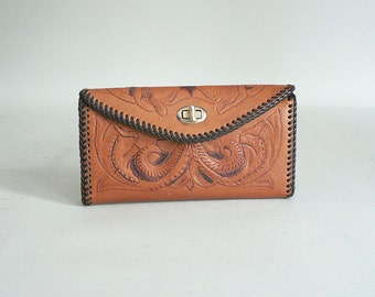 Western Tooled Leather Checkbook Wallet
