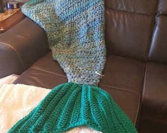 crochet mermaid tail blanket kids, cocoon blanket, kids gift, kids sea mermaid blanket, ocean bedding, toddler room decor, lap blanket, girl