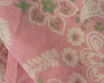 Little Pink and Light Green Paisley Bandana 14x14