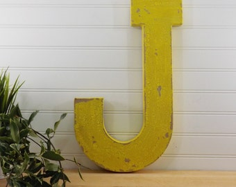 Paper Mache' Letter/ 16 Inch Tall Letter/ Shabby Chic Letter/ Art Noveau Letter/ Distressed Letter/ Large Letter/ Shelf Art/ Shelf Letter