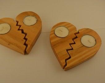Wood Heart Tea Light Holders