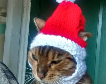 Cat Hat. Christmas Hat for the Cat. Ready to ship. Cat Costume Cat Christmas Costume. Santa Hat