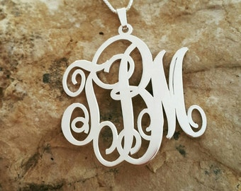 Monogram Pendant and Chain / Personalized Necklace / Initial Necklace / All Sterling Silver / Name Necklace / Custom made monagram
