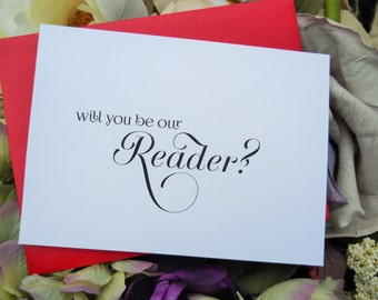 WILL You Be Our READER CARD, Rearer Card, Will You Be Our Reader, Wedding Reader, Wedding Reader Gift, Gift for Wedding Reader