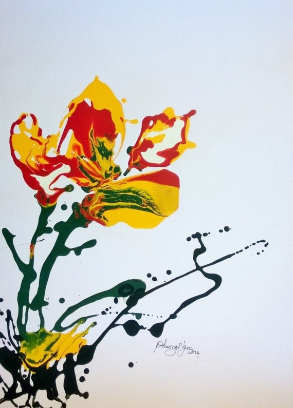"""ORCHID 16x20"""" oil on paper, flowers, floral wall decor, original painting by Nguyen Ly Phuong Ngoc"""