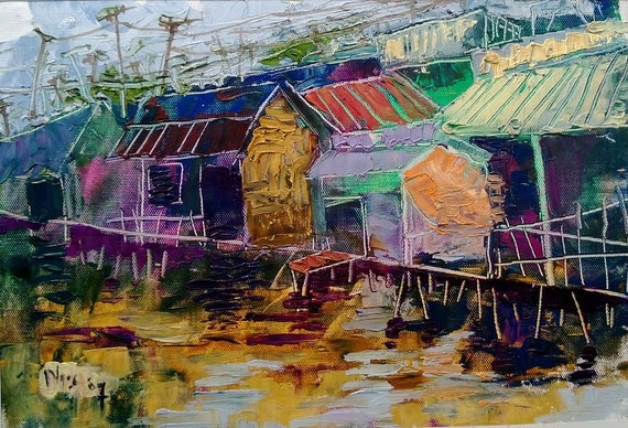 "ON STILTS 16x10"" textured oil on canvas, live painting, Mekong Delta (Cần Thơ Province), original by Nguyen Ly Phuong Ngoc"