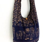 Navy Blue Cotton Hippie Bag Handbags Elephant Bag Hippie Hobo Bag Boho Bag Shoulder Bag Sling Bag Messenger Bag.