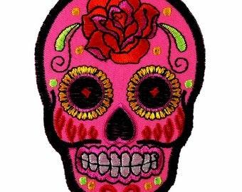 Iron On Pink Rose Sugar Skull Patch