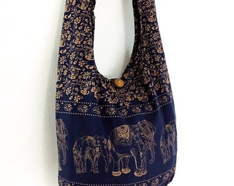 Navy Blue Cotton Hippie Bag Handbags Elephant Bag Hippie Hobo Bag Boho Bag Shoulder Bag Sling Bag Messenger Bag.